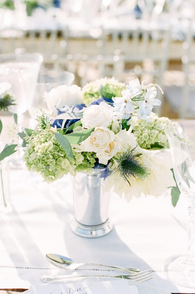 floral centerpiece with summer blooms at laughton estate