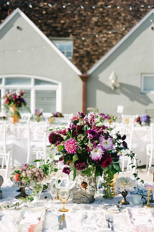 colorful centerpiece vintage wedding l'auberge del mar