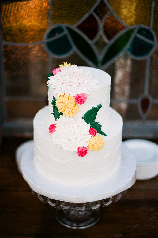 two layer wedding cake with dahlias