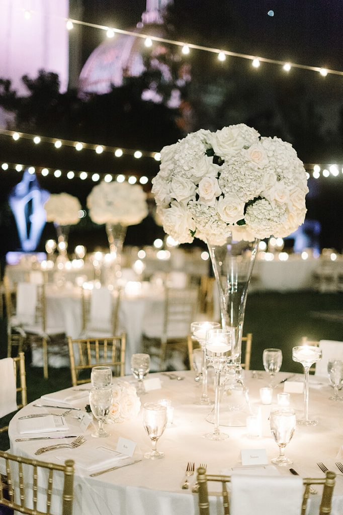 white floral centerpieces for san diego museum of art wedding