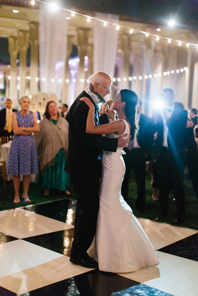 bride and father dance at san diego museum of art wedding