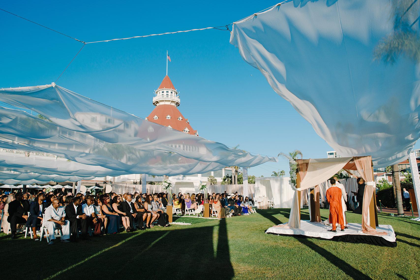 large hotel del wedding ceremony on windsor lawn