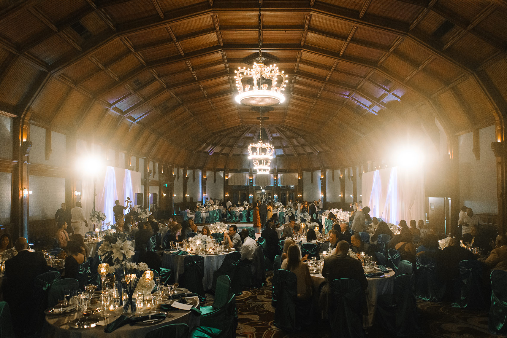 hotel del coronado crown room during wedding reception