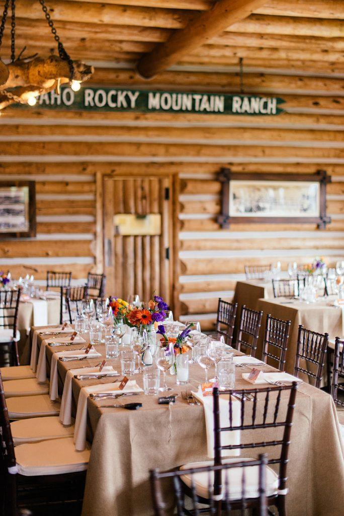 long table setting burlap linen idaho rocky mountain ranch