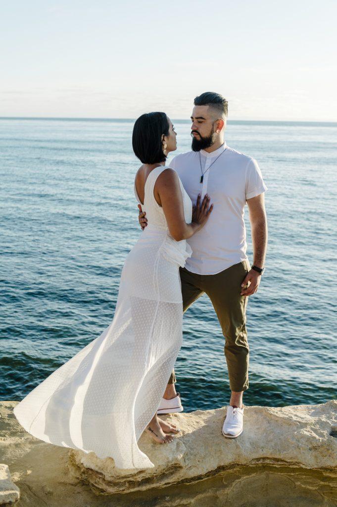Engagement shoot at sunset cliffs