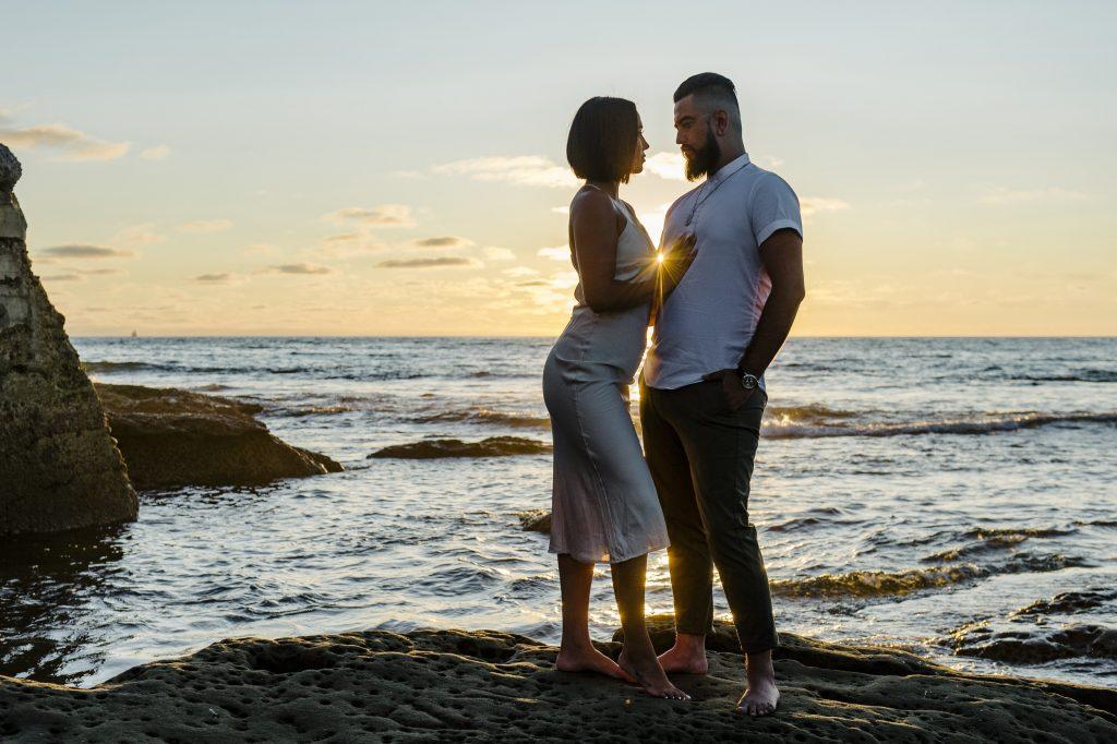 Sunset engagement photo in Ocean Beach