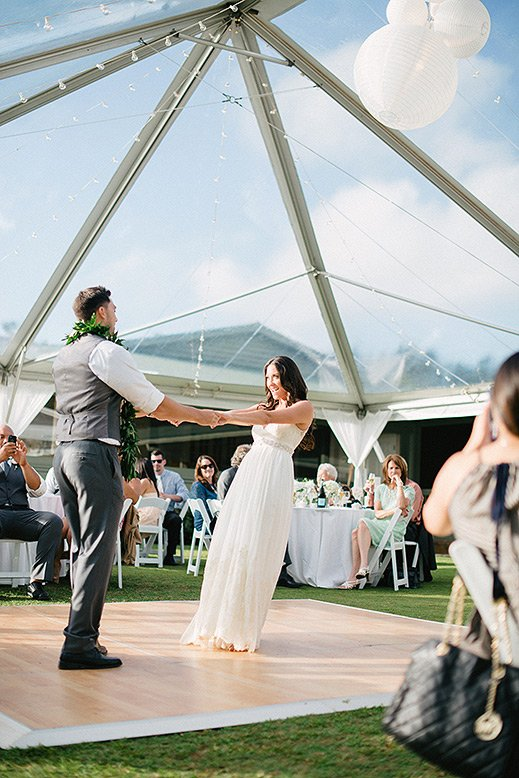 bride groom first dance sunset ranch hawaii wedding