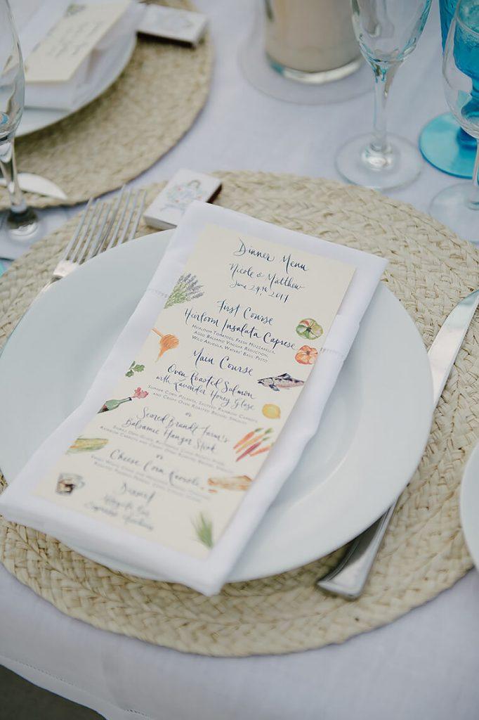 dinner menu st malo beach wedding