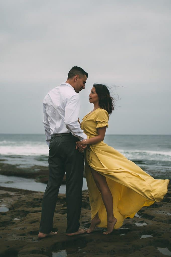 couple in romantic embrace
