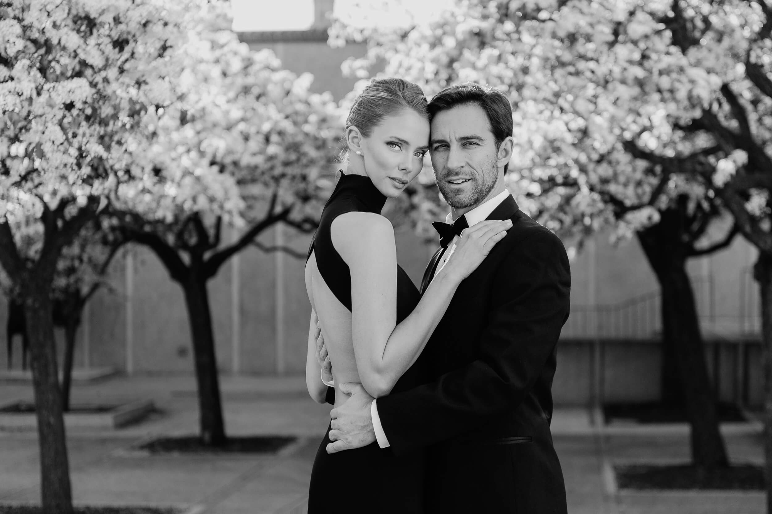 couple in formalwear pose in front of flowering trees near museum of art in balboa park