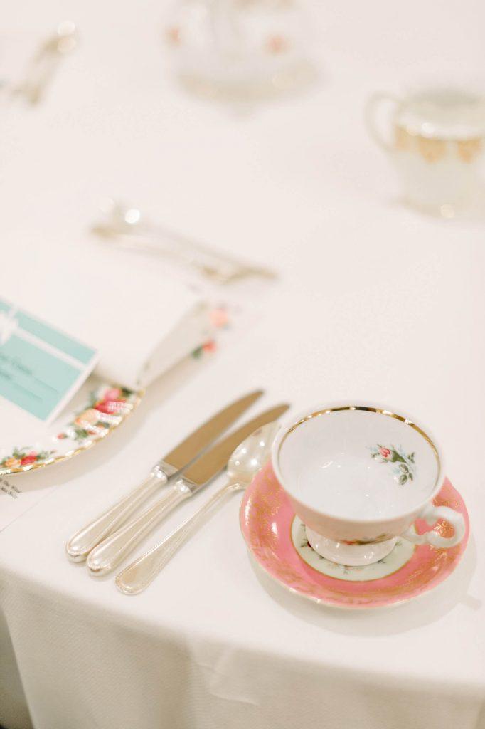 place setting and teacup westgate hotel vintage bridal shower