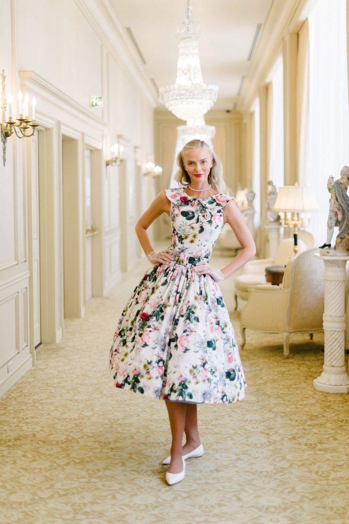 bride wearing vintage floral a-line dress tea party bridal shower westgate hotel