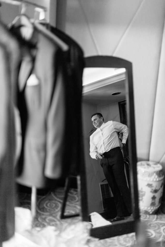 groom reflection mirror getting ready la valencia hotel