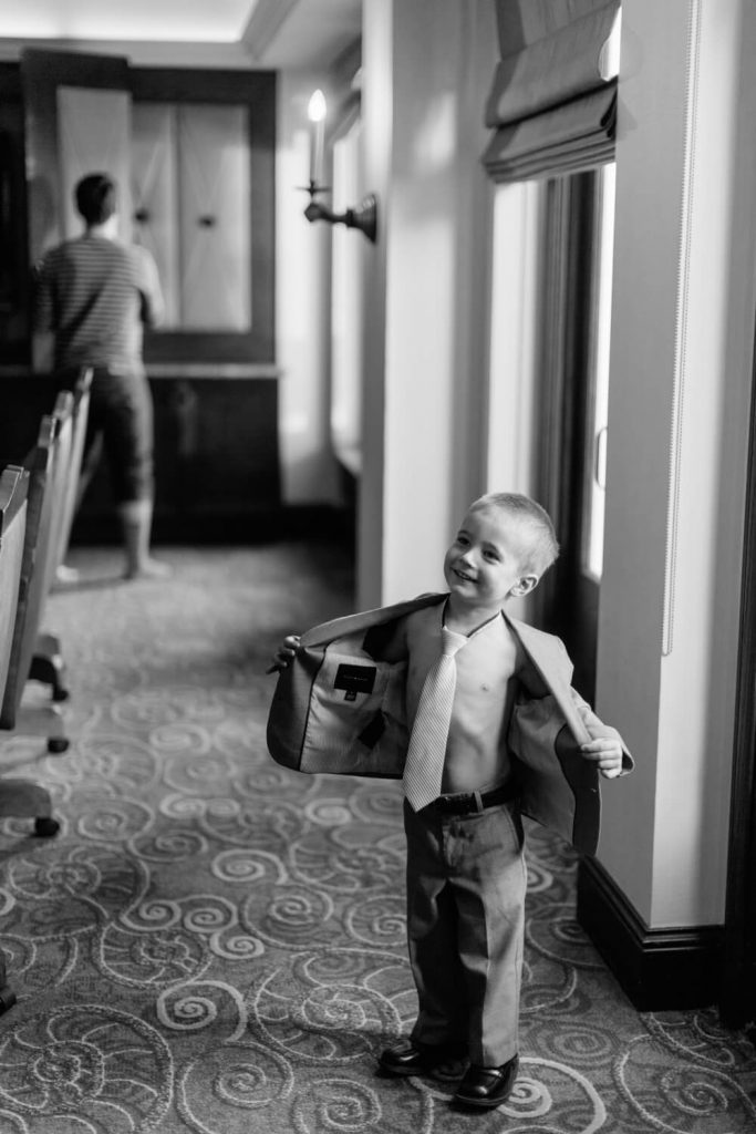 ringbearer no shirt in suit with tie la valencia