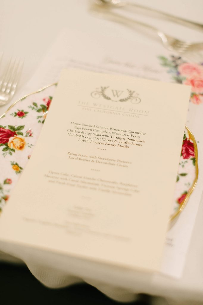 lunch menu vintage tea party bridal shower westgate hotel