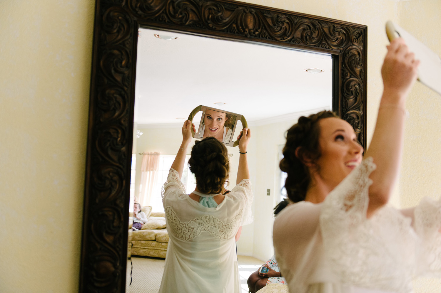 bride reflection handheld mirror