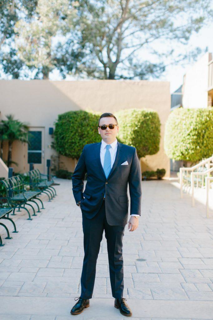 groom blue suit sunglasses portrait all hallows