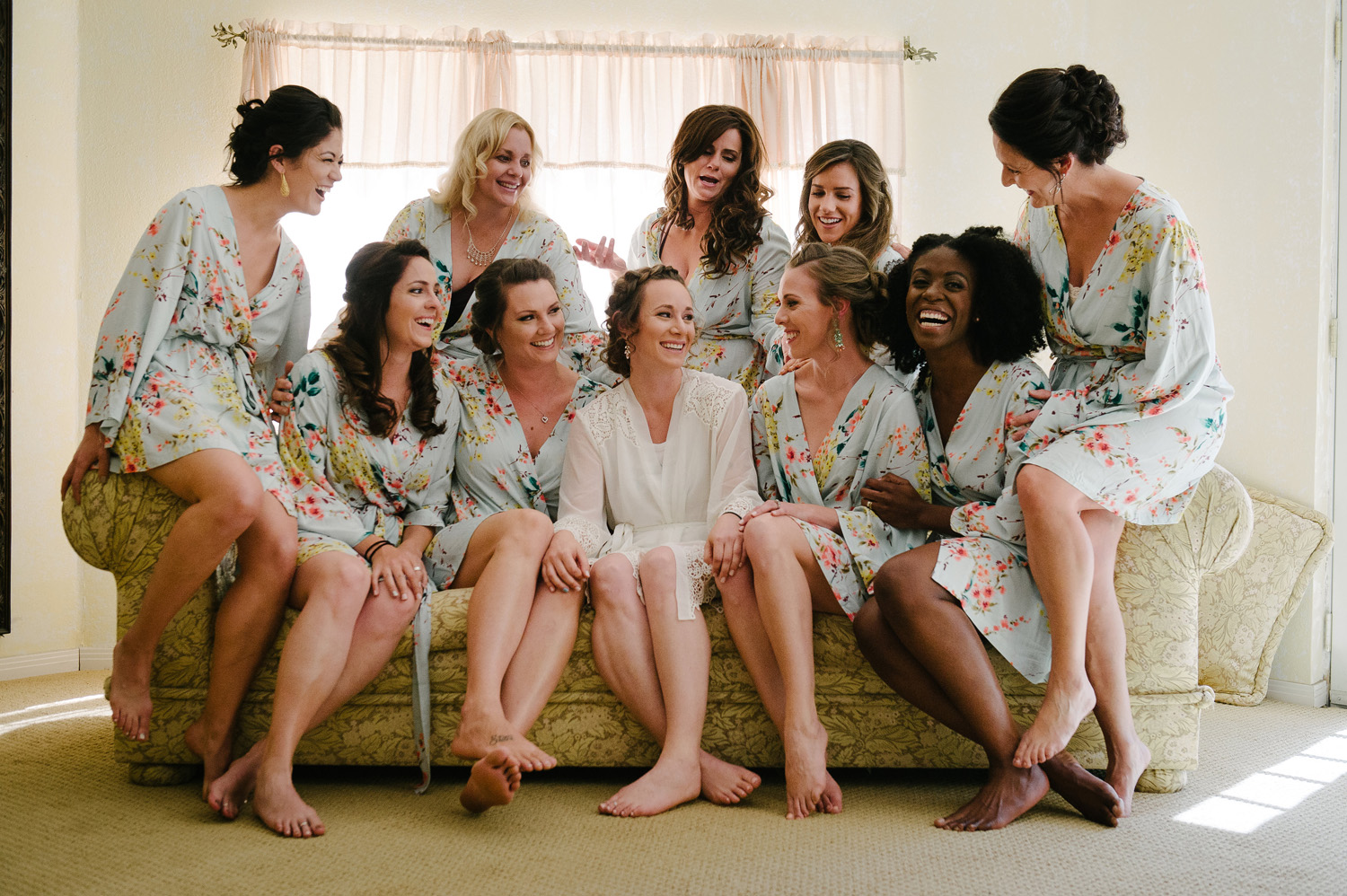 bride bridesmaids matching floral robes