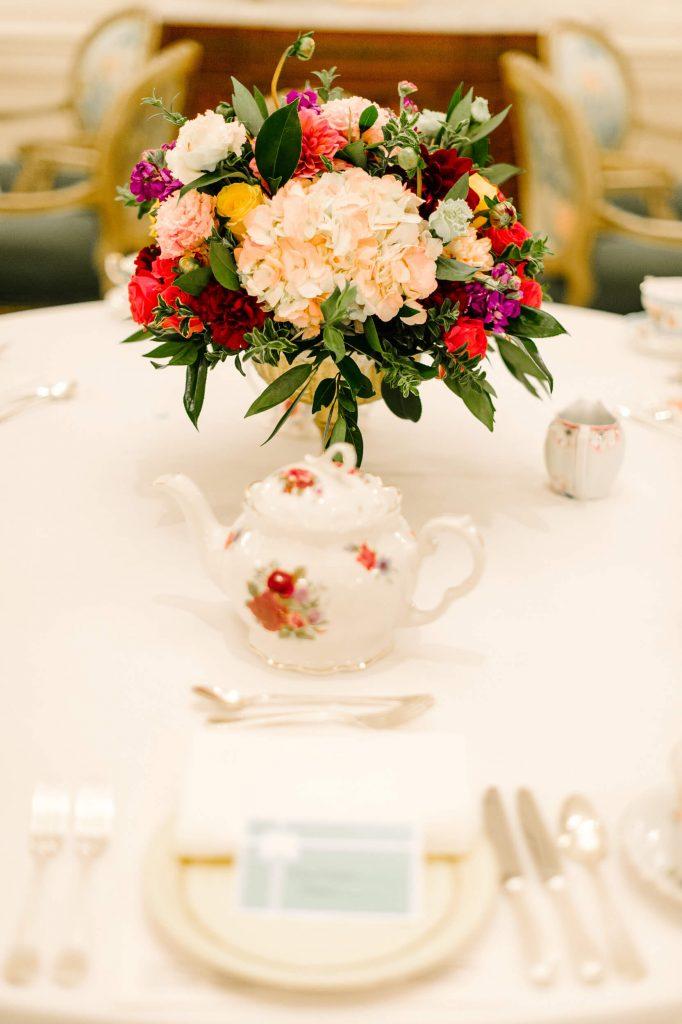 floral teapot and centerpiece vintage tea party bridal shower westgate hotel