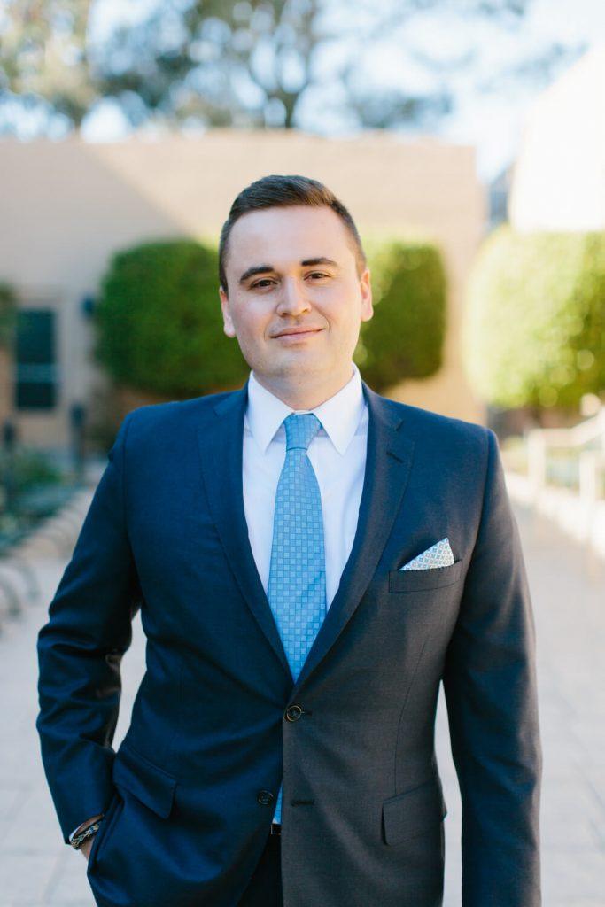 groom blue suit tie portrait all hallows church