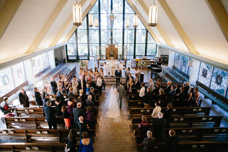 high angle of processional of all hallows wedding
