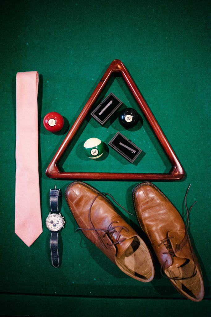 groom items pink tie watch shoes tie clip pool table