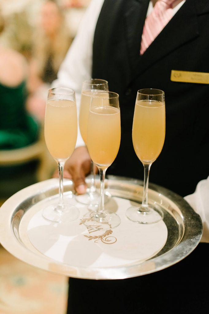bellinis served on silver platter