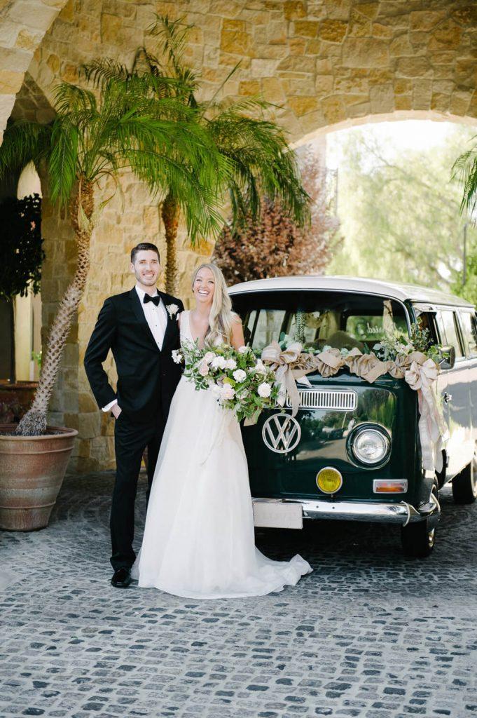 bride groom vintage volkswagen van getaway car