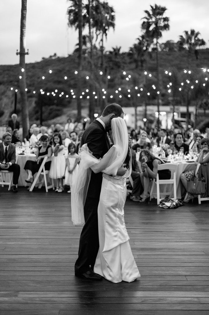 bride groom first dance oceanview room wedding reception