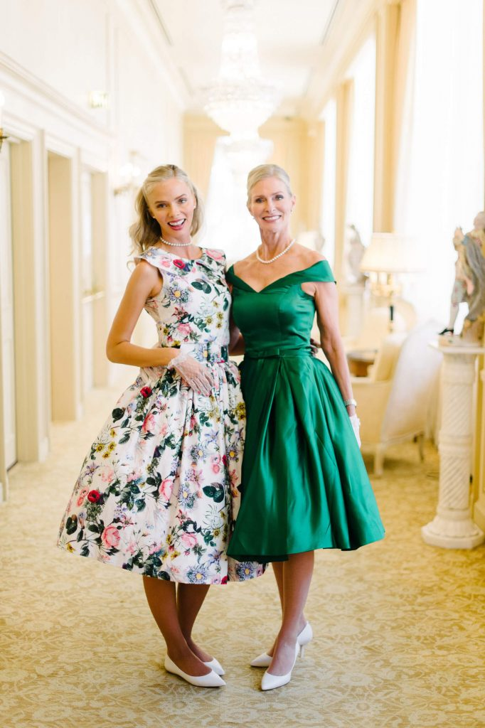 bride and mother in vintage a-line dresses