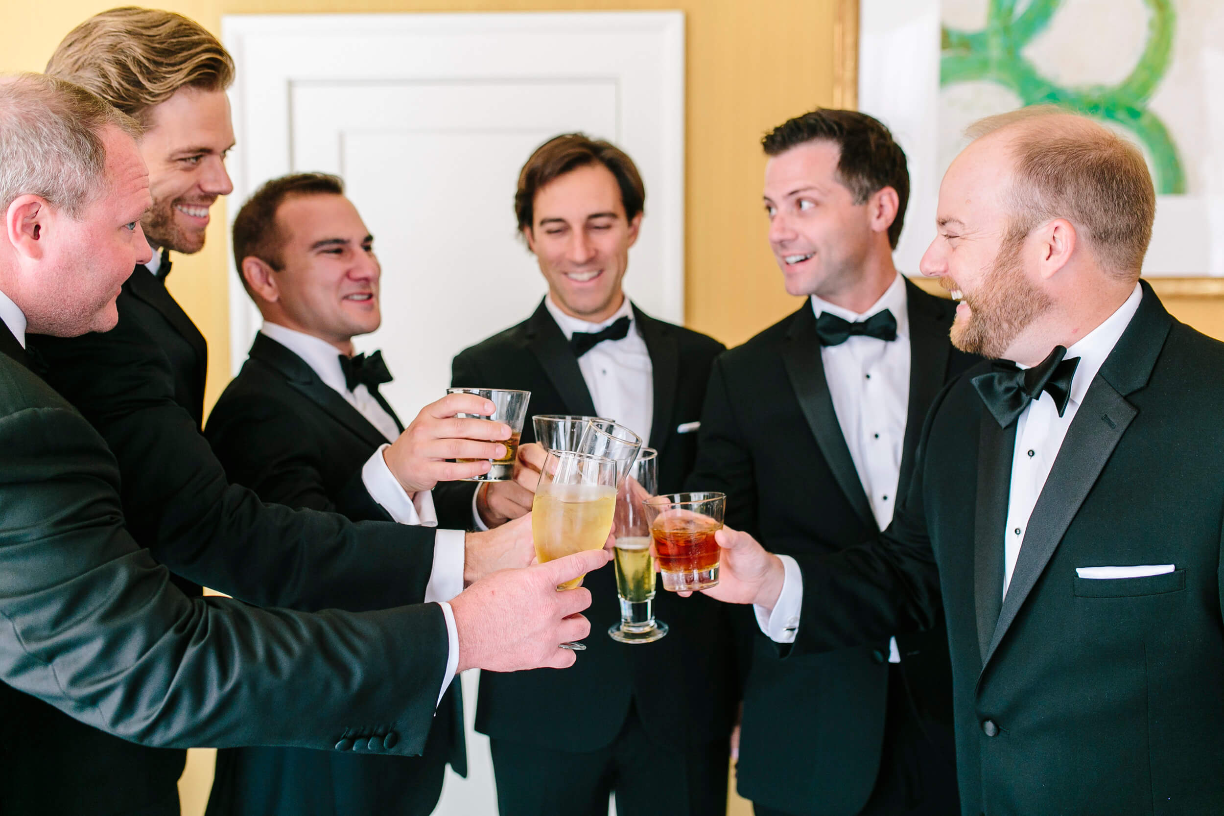 groom and groomsmen cheers grande colonial la jolla
