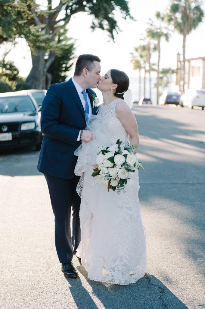 bride groom walk kiss la jolla street