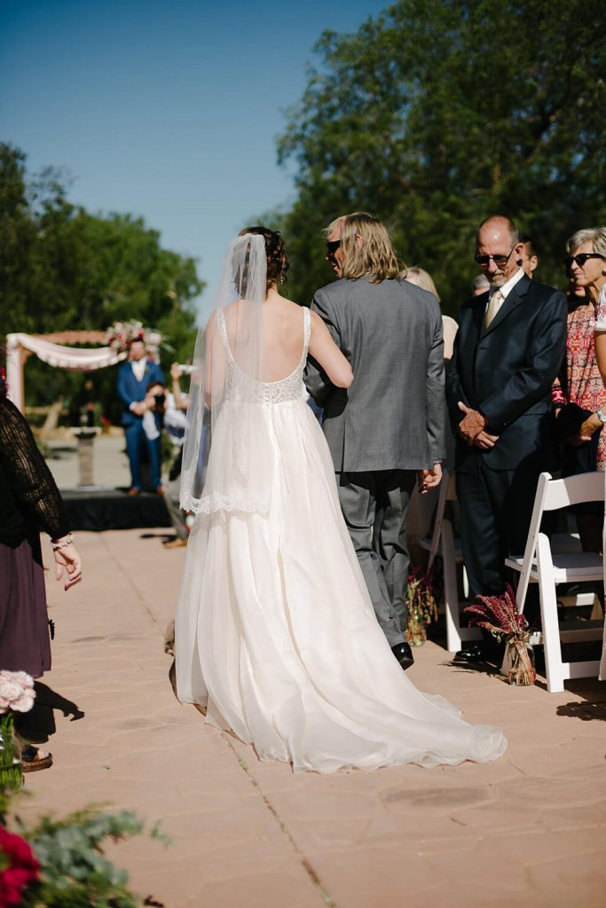 bride father walk down aisle high desert estate wedding