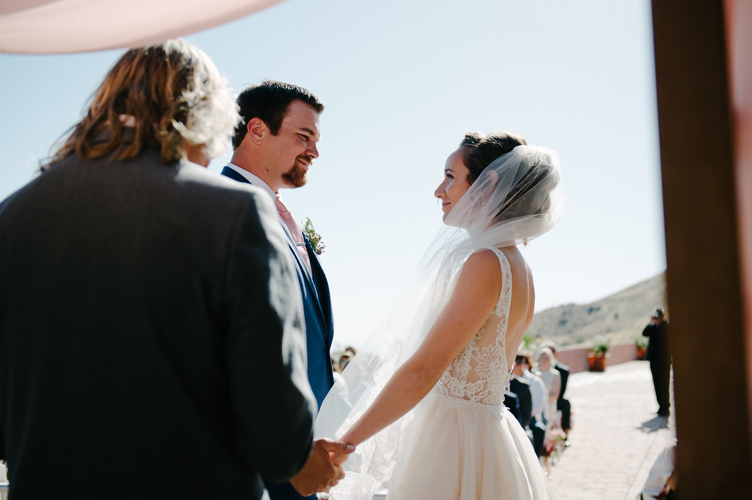 bride groom ceremony high desert estate wedding