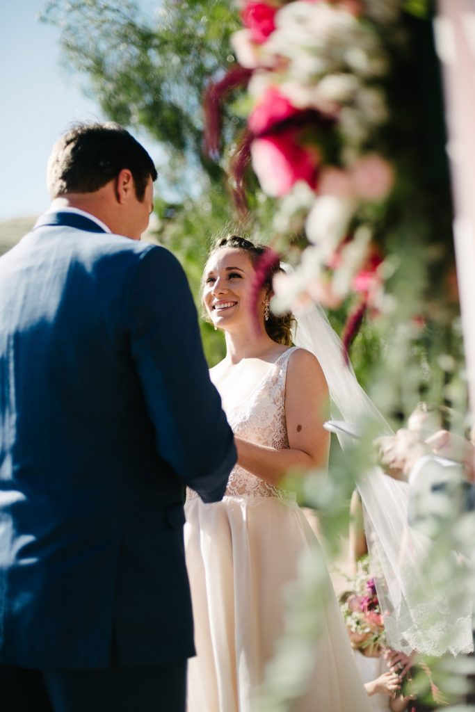bride vows ceremony high desert estate wedding