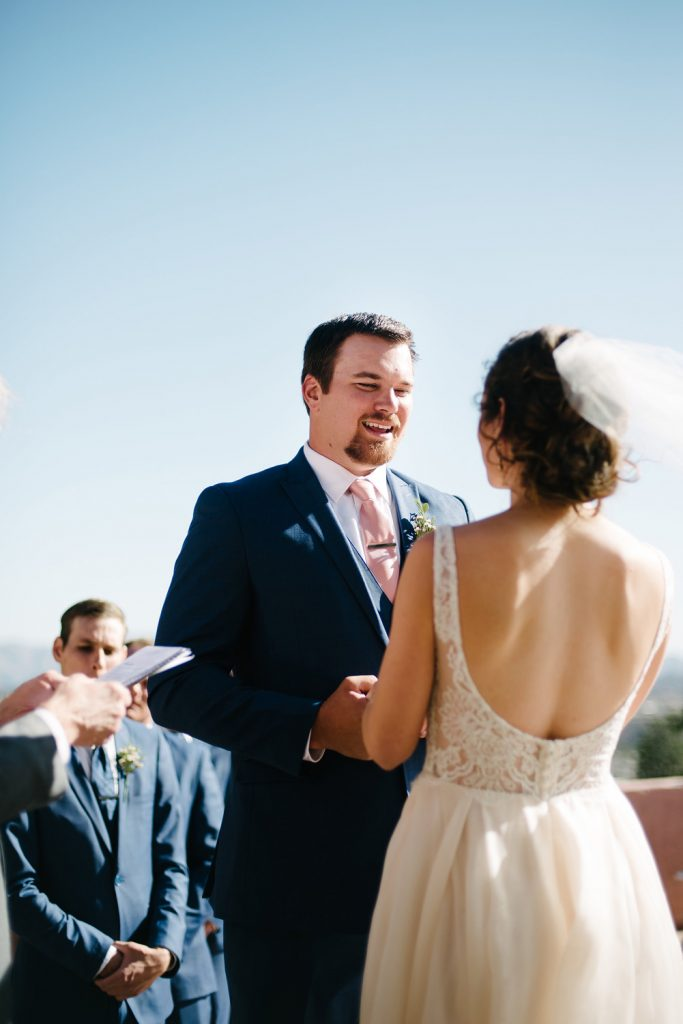 groom vows ceremony high desert estate wedding