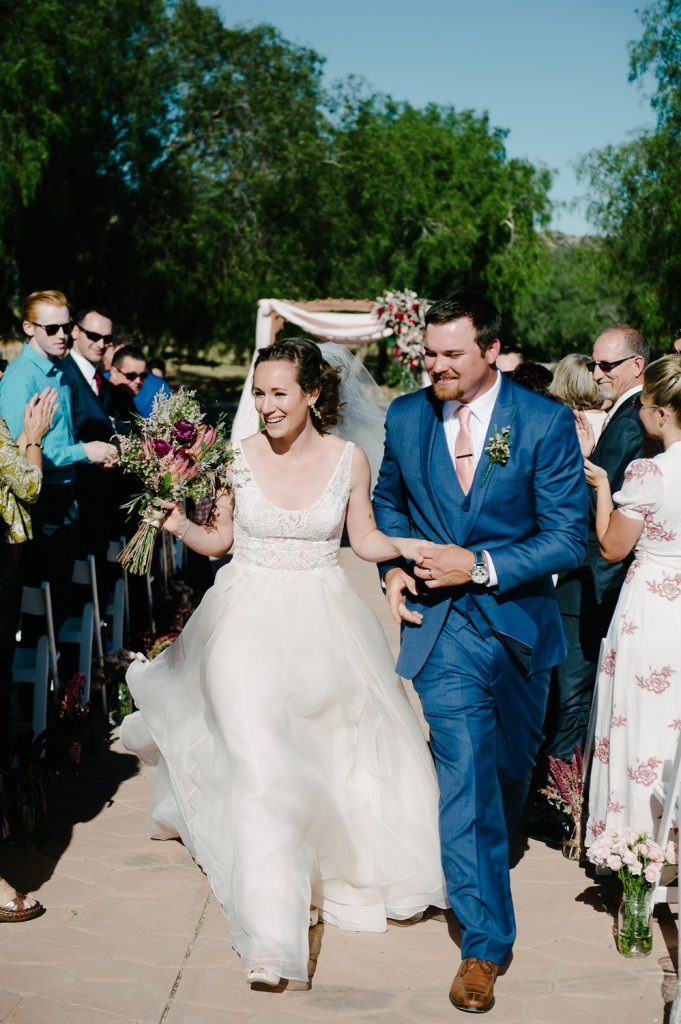 bride groom recessional high desert estate wedding