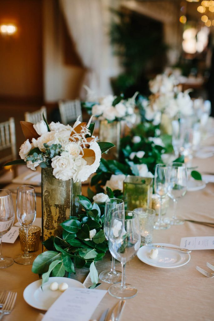 white mini roses camelia table runner textured linen la valencia hotel