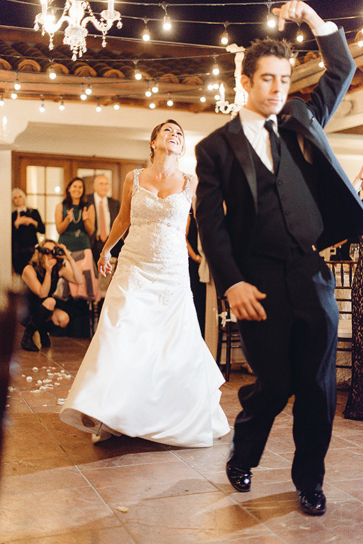 groom funny dance bride laughing first dance ballroom terrace bacara santa barbara wedding