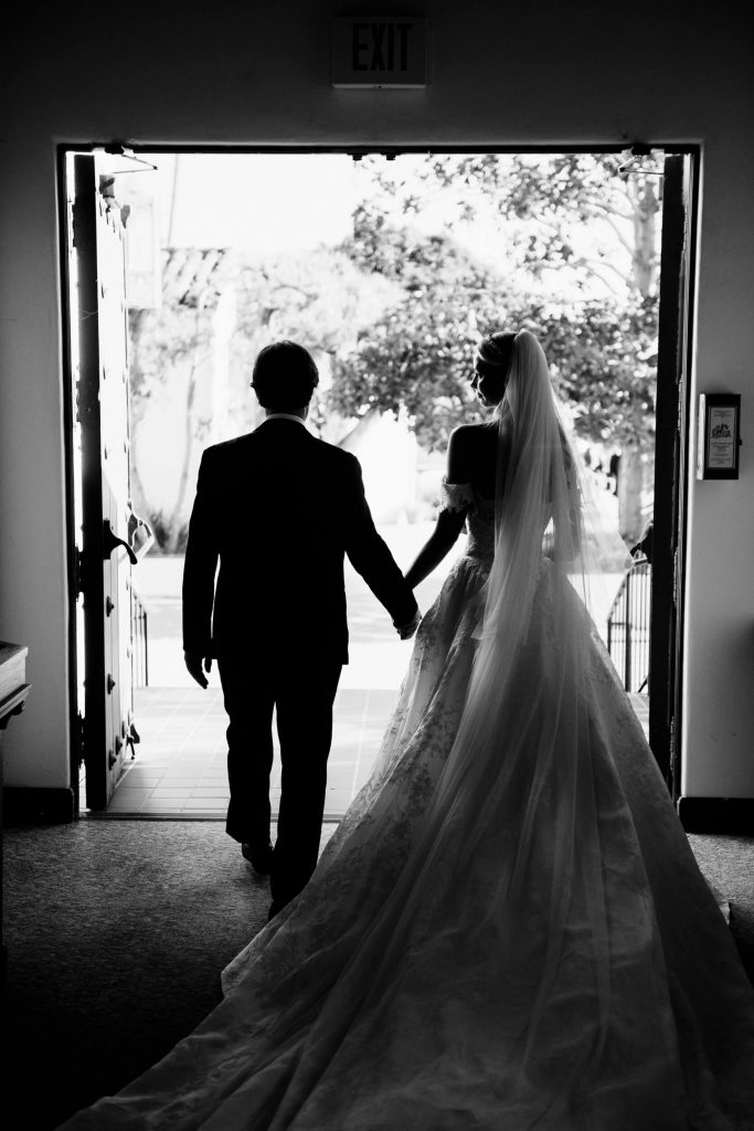bride groom silhouette exit la jolla presbyterian church
