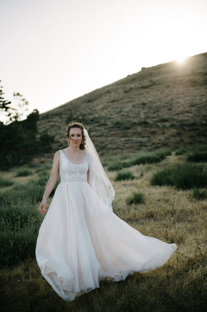 bride field sun high desert estate wedding