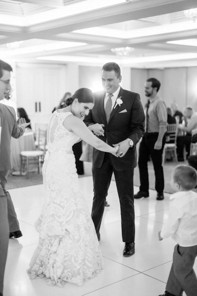 bride groom first dance la valencia hotel wedding reception verandah room
