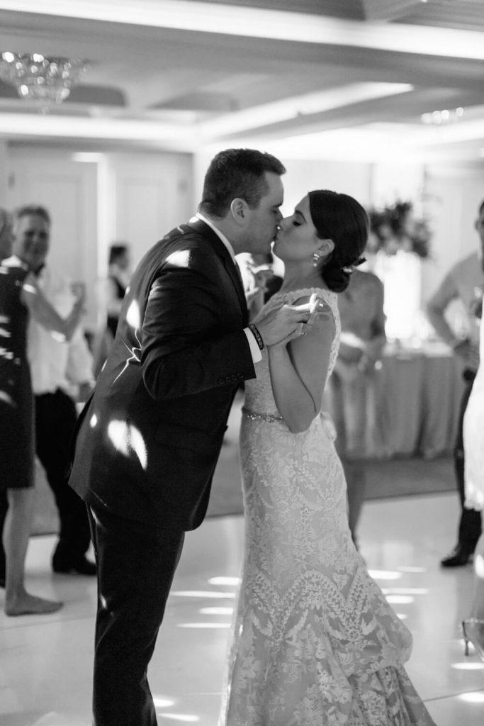 bride groom kiss first dance la valencia hotel wedding reception verandah room