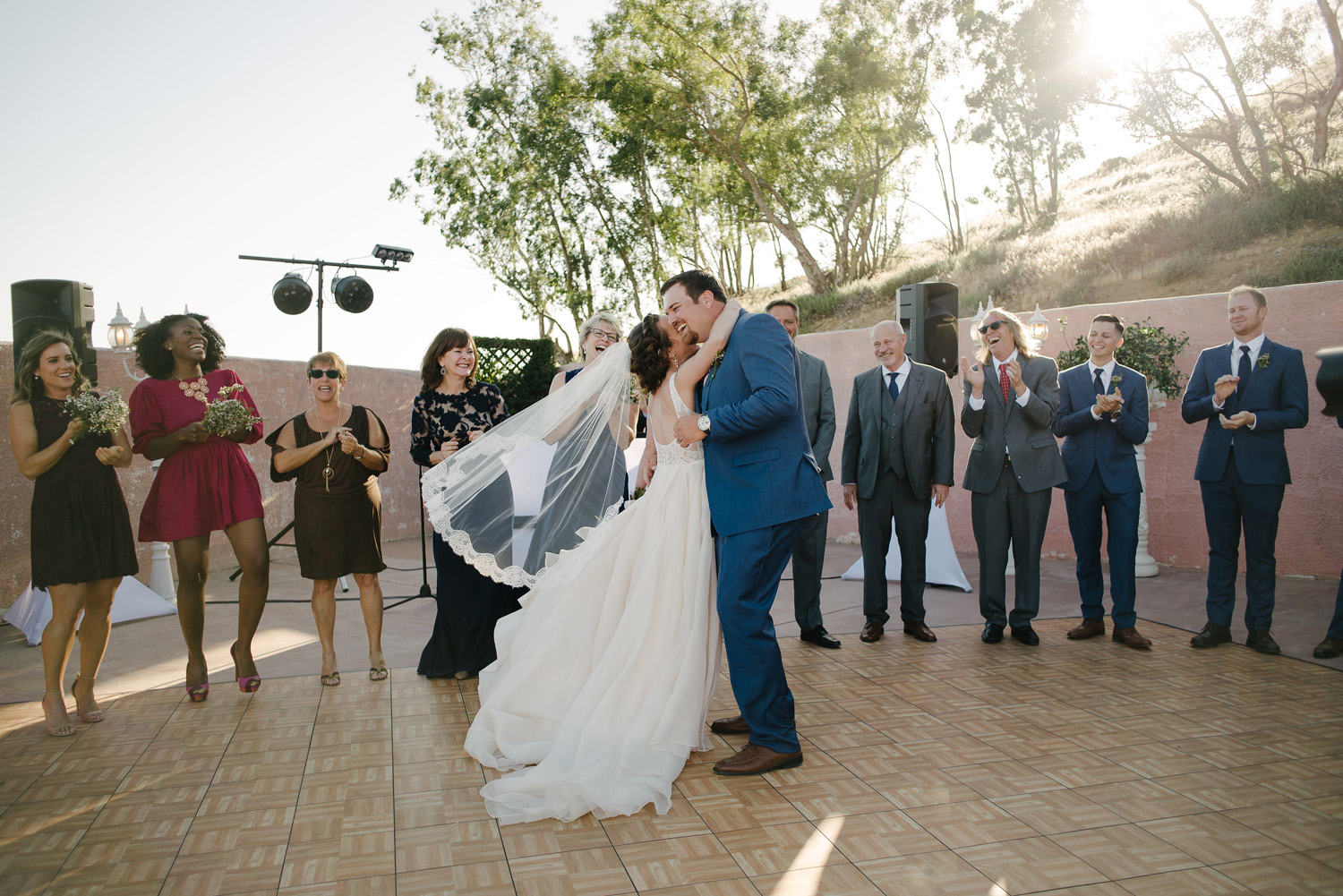bride groom first dance grand entrance high desert estate wedding