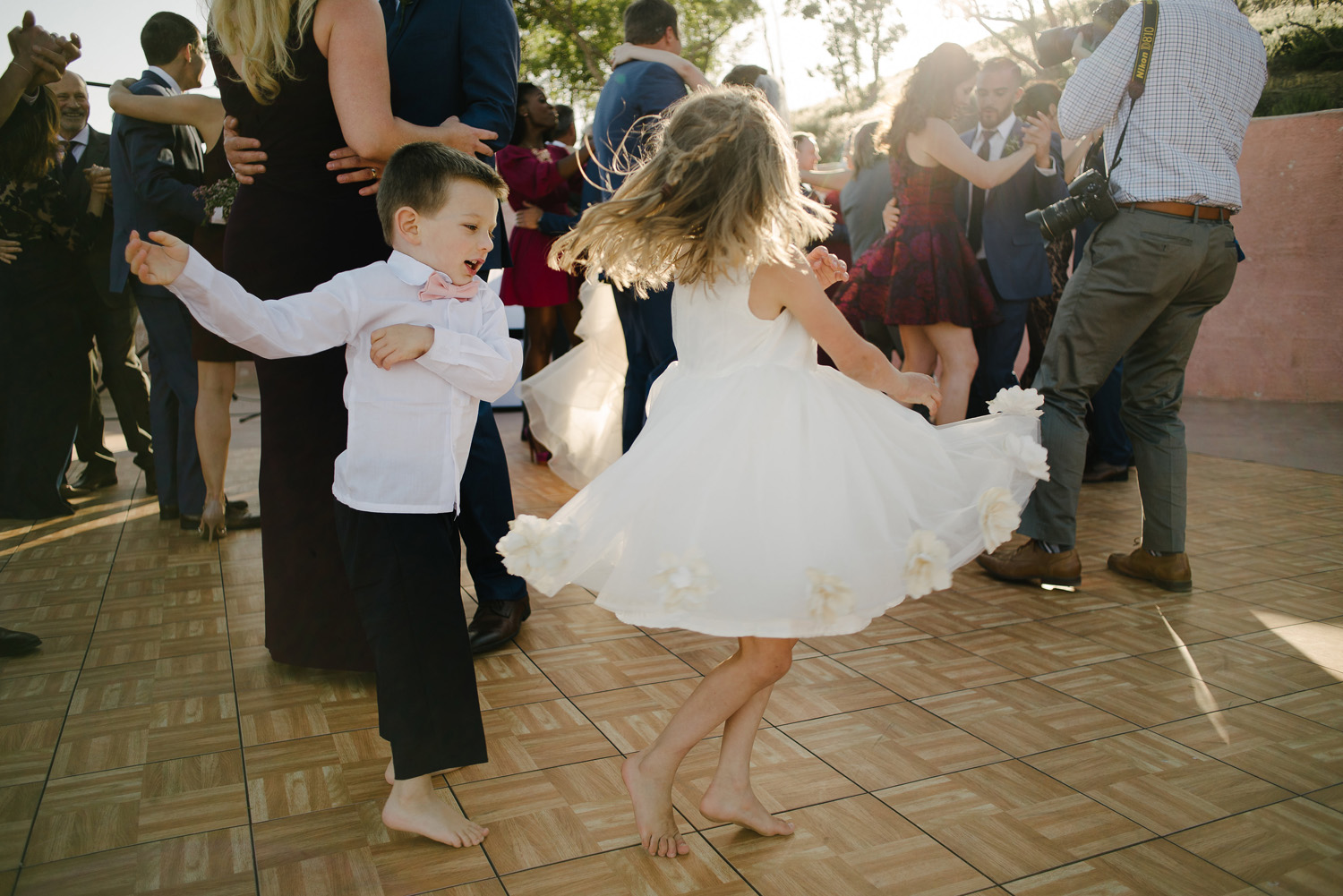 flower girl ringbearer dance high desert estate wedding