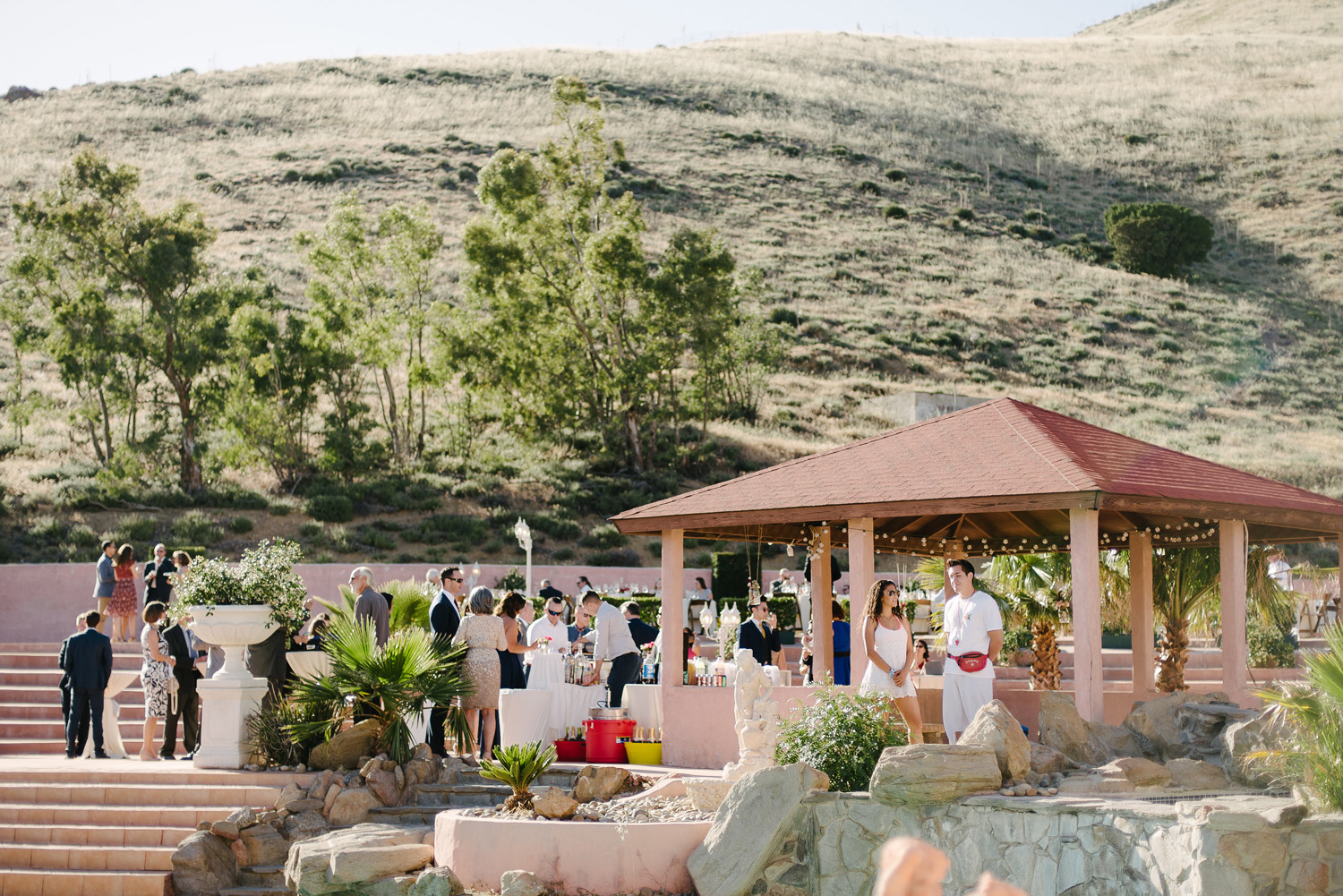 pool cabana deck high desert estate wedding