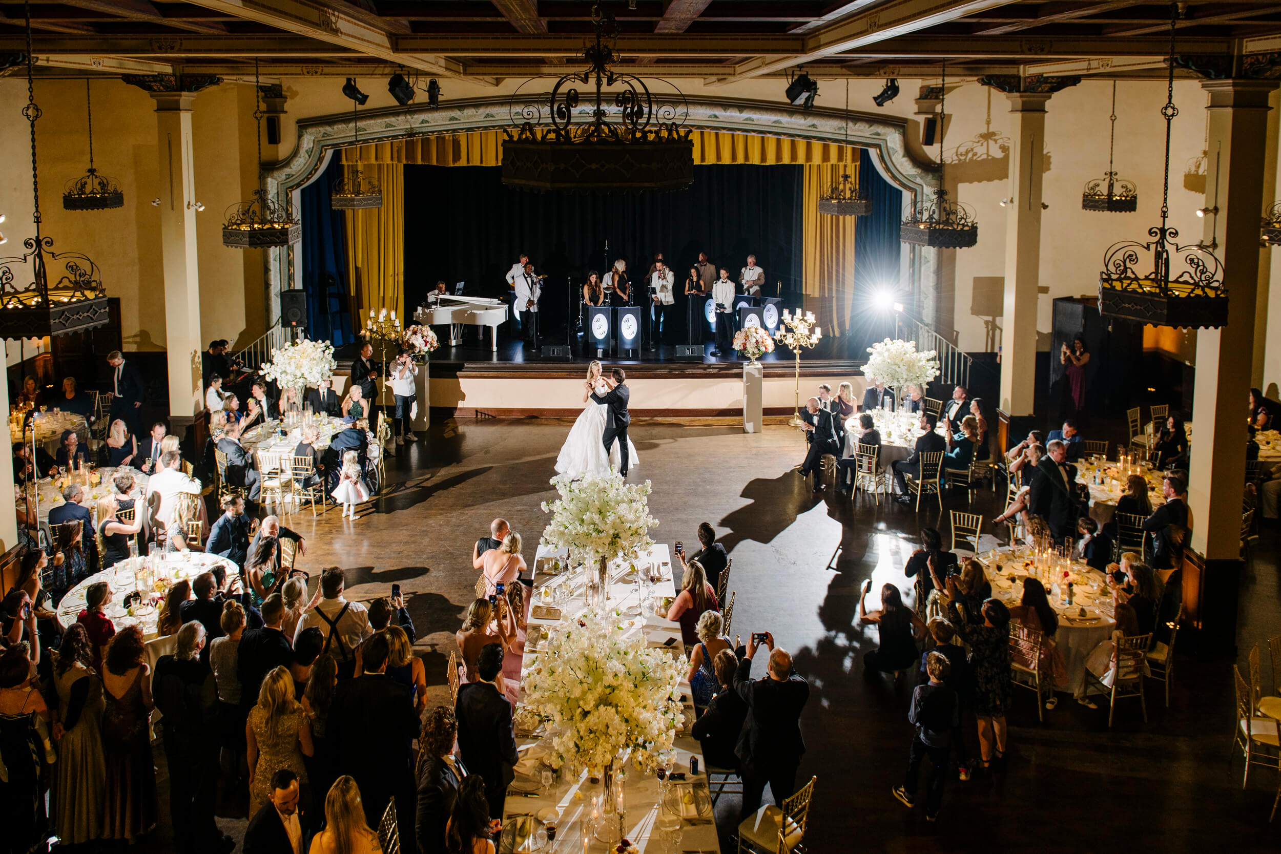bride groom first dance grand ballroom the prado royal family inspired wedding