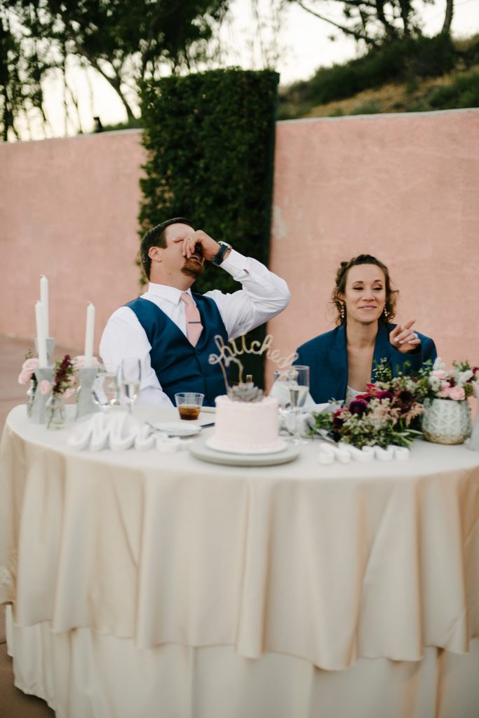 groom face palm brides father toast high desert estate wedding