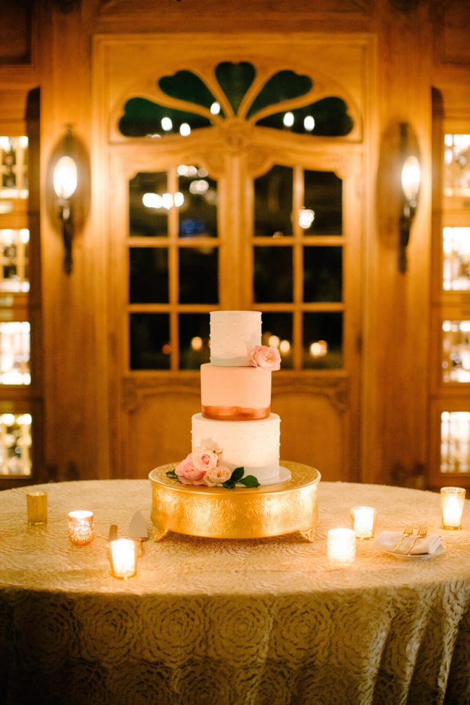 three tier wedding cake rose gold vista valley country club