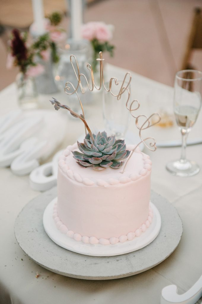 pink wedding cake succulent cake wire hitched topper